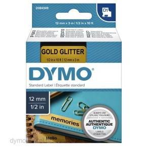 Dymo 2084349 D1 TAPE [12MM X 3M, BLK/GLD, GLITTER]