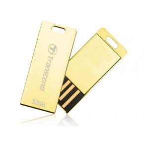 Transcend TS32GJFT3G JetFLash T3 Gold Luxury USB Stick [32GB, USB2.0, strap, Spill/ Dust resistant]