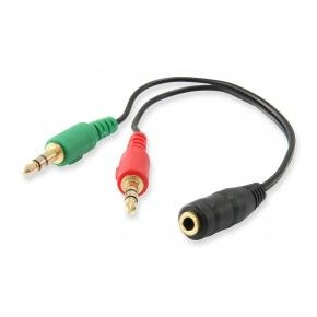 Equip 147941 3.5mm Audio Split cable [3.5mm -> 2x 3.5 mm, Male/ Female, PVC, 13cm, Black]