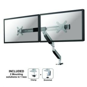 "Newstar NM-D750DXSILVER NeoMounts Full Motion Dual Desk Mount (2x 10-27"", 20kg, Gas-spring]"